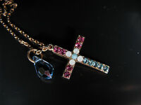 MARIANA CROSS NECKLACE PENDANT SWAROVSKI CRYSTALS ROSE GOLD PL Gift Mother's Day