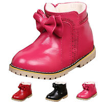 New Children Girls Sweet Zipper Snow Ankle Boots Fur Lined Faux Leather Shoes