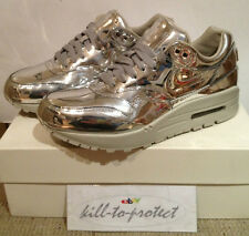 (USED) NIKE WMNS AIR MAX 1 LIQUID METAL SILVER US6 UK3.5 TZ 616170-090 Metallic