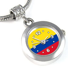 Colombia Flag Silver European Spacer Charm Bead Quartz Watch For Bracelet EBA239