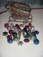 Older Wicker Santa's Christmas Sleigh & 29 Colorful Plastic Bulbs Ornaments
