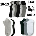 Mens Womens 10-13 Crew Ankle Low Cut Sports Socks Black White Gray 3 6 12 Pairs