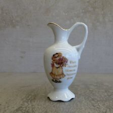 Vintage Holly Hobbie Small Jug Vase Friendship Happiness Porcelain Japan 1981