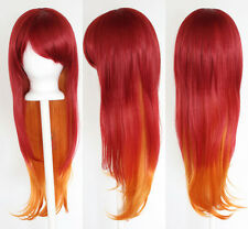 28'' Long Straight Layered Fade Red to Orange Cosplay Wig