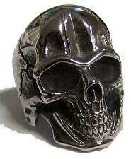 BIG SKELETON SKULL HEAD STAINLESS STEEL RING size 7 - S-539 biker  MENS womens