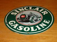 "VINTAGE 1939 ""SINCLAIR H-C GASOLINE AUTOMOBILE"" 10"" PORCELAIN METAL GAS OIL SIGN"