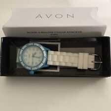 Avon White Silicone Watch With Light Blue Dial