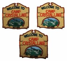 """Friday the 13th Welcome to Camp Crystal Lake 3"""" Tall Embroidered Patch Set of 3"""