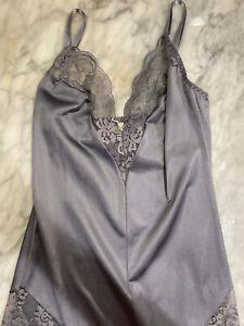 Vintage Maidenform S Gray Chantilly Lace Bodysuit Romper Union Made SATIN Slip