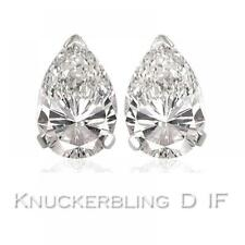 Diamond Solitaire Studs: 0.50ct Certified D IF Pear Shape Diamonds in Platinum