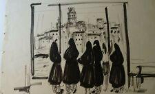 LANGLOIS-BELLOT  ECOLE PARIS - DESSIN ENCRE TURQUIE ISTAMBUL VERS 1950 3