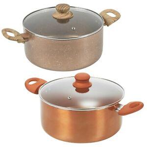 Non Stick Ceramic Induction Casserole Dish Stockpot Pot Soup Stew Pan Glass Lid