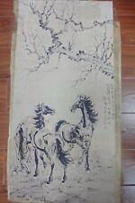 Large Rare Chinese Paper Painting Horses Marked XuBeiHong Qa254