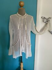 Sass & Bide NEW stunning cream crochet style top gold trim medium