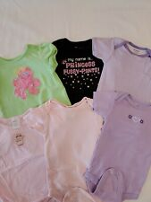 Lot X6 Infant Girl One-Pieces Variety Of Colors, Prints And Brands Size 6-9 Mos.