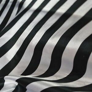 "Per Yards Black & White Stripe Satin Fabric 60"" Wide Quality USA Seller SALE"