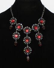 New Dark Silver Statement Necklace with Deep Red Rhinestones nwt #N2677