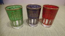 ROYAL FRENCH DESIGN ENAMELLED GLASS CUP 3 PIECES