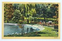 Postcard Newburgh NY The Rustic Bridge At Downing Park New York 1940's Linen