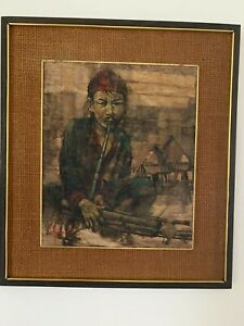 "Prayat Pongdam Oil on paper, Mid Century Thai artist ""Hill Tribe Boy"""