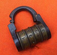 ancien rare cadenas a combinaison fer et laiton 4 Rouleaux  epoque XIXe Padlock