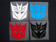 SET OF FOUR 4 INCH TRANSFORMERS DECEPTICON DECALS STICKERS WHITE RED BLACK BLUE