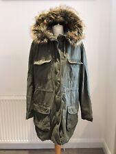 Ladies Next Parka Coat UK 12 Warm Khaki Detachable Gilet Faux Fur Hood Cosy