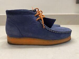 MF Doom NY Knicks Wallabees Navy orange gummy size 8.5 boot suade leather