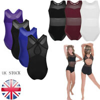 UK Girls Kids Ballet Gymnastics Leotard Sleeveless Bodysuit Mesh Back Dance wear