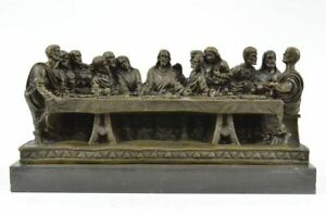 Religeous THE LAST SUPPER Bronze Sculpture on Marble Hand Made Church Figurine