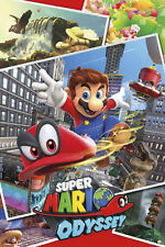 SUPER MARIO ODYSSEY COLLAGE 24x36 POSTER NINTENDO VIDEO GAME LUIGI PRINCESS 3D!!