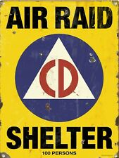 "Vintage Retro Reproduction Air Raid Shelter Warning Metal Sign 9""x12"""
