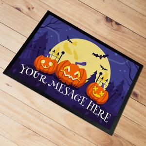 Personalised Halloween Door Mat floor mat Moon Pumpkins 60 x 40 cm Add Any text