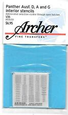 Archer Panther Ausf. D, A and G Interior Stencils Dry Transfers 1/35 351 ST