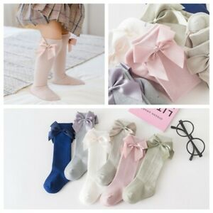Girls Babys Toddlers Ribbon Bow Knee High Party Wedding School Socks 1-8 years