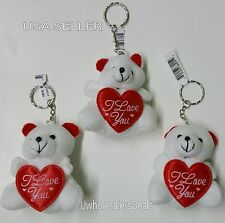 """3 White Soft Teddy Bears KEYCHAIN with Red Heart """"I Love You"""" Key Chains"""