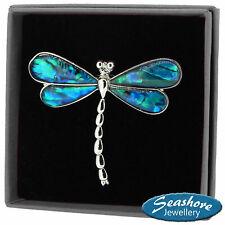 Blue Dragonfly Brooch Paua Abalone Shell Womens Silver Fashion Jewellery Gift