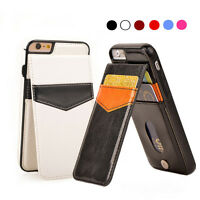 Leather Slim Wallet Credit Card Holder Stand Back Cover Case for iPhone 6 7 Plus