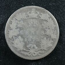 25 cents 1872H Canada Queen Victoria silver coin c ¢ quarter AG-3