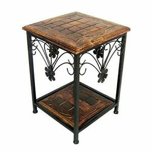 WOODEN & IRON HANDCRAFTED BEDSIDE TABLE / SITTING STOOL WITH SHELF STORAGE