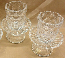 Partylite Pair P9246 Quilted Clear Glass Votive Candle Holders 2 bases 2 cups