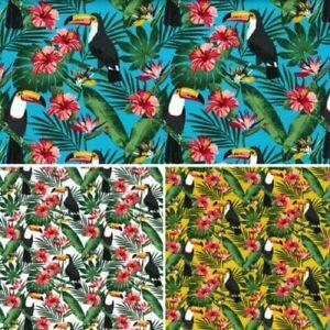 Toucan Fabric Tropical Rose & Hubble 100% cotton fabric Metre or 1/2 Metre.