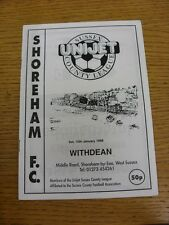 10/01/1998 Shoreham v Withdean [Sussex RUR Cup] (Excellent Condition)