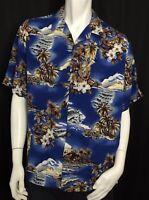 Hilo Hattie Size Large Blue Hawaiian Aloha Shirt SS  Palm Hibiscus Luau Tropical