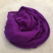 Purple 100% Pure Cashmere Wool Scarf Shawl Wrap Nepal Handmade Fine Knit Gift