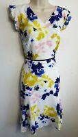 FENN WRIGHT MANSON DRESS UK 12 WHITE BLUE YELLOW PINK RUFFLED FLORAL