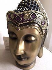 Divine Thai Buddhas Head Statue. Sparkling In Amethyst Swarovski Elements