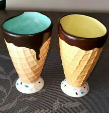 Pier One Imports Waffle Cone Ice Cream Sunday-Milk Shake Cups Set Of 2