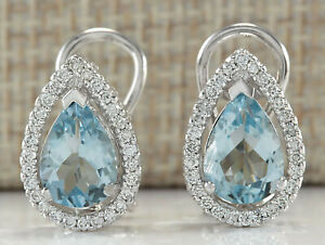 3.46 Carat Natural Aquamarine 14K White Gold Diamond Earrings