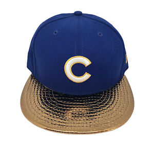 Chicago Cubs MLB Metallic New Era 59FIFTY Fitted Cap NWT (Blue/Gold) Size 7 3/8